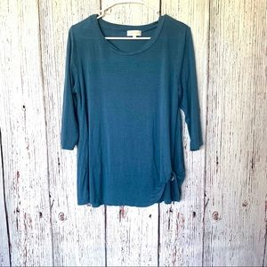Simply Southern Knot Top Twist Tee Moonrise Blue S